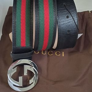 😎Authentic Gucci Belt Black Green Red Stripes GG